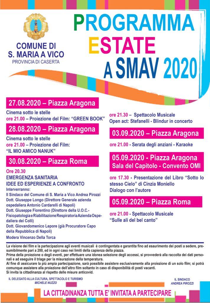 """Manifesto 70x100  page 0001 711x1024 PROSSIMAMENTE NELLE PIAZZE DI SANTA MARIA A VICO """"ESTATE A SMAV"""""""