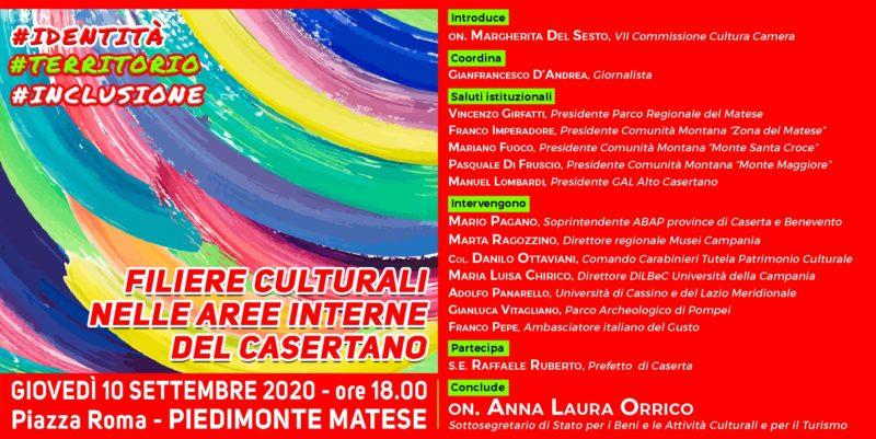 MDS Invito convegno Beni culturali 10092020 def LR scaled PIEDIMONTE MATESE, CONVEGNO IDENTITÀ. TERRITORIO. INCLUSIONE. FILIERE CULTURALI NELLE AREE INTERNE DEL CASERTANO