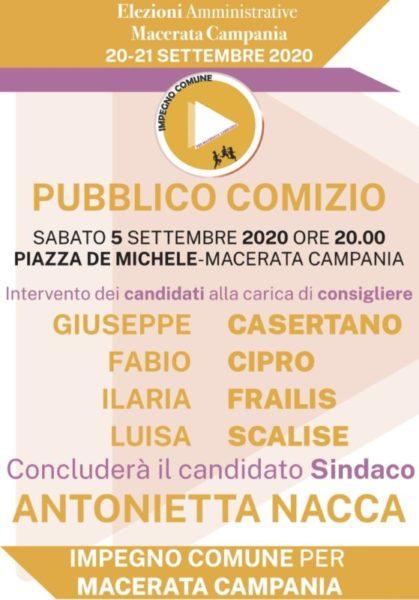 Primo Comizio Macerata Campania scaled AMMINISTRATIVE: IMPEGNO COMUNE PER MACERATA CAMPANIA PRESENTA I CANDIDATI