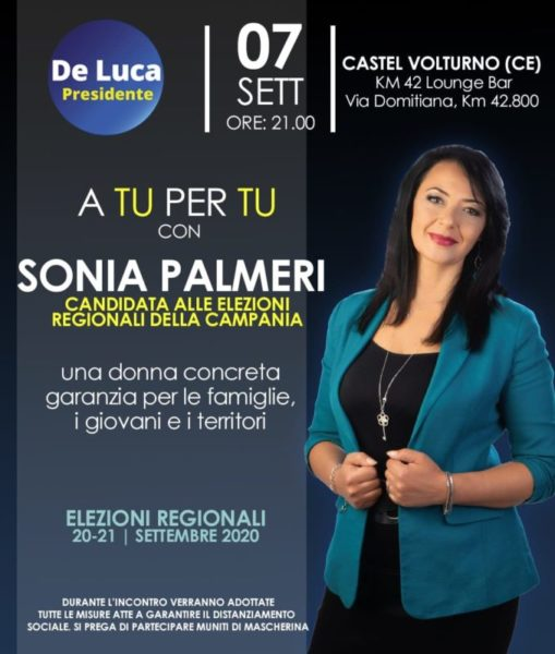 Sonia Palmeri scaled CASTEL VOLTURNO: LAVORO, IMPRENDITORIA, SANITÀ I TEMI AFFRONTATI DA SONIA PALMERI (DE LUCA PRESIDENTE)