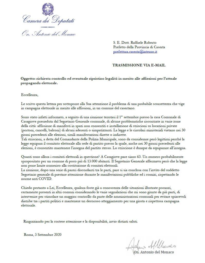 casagiove lettera del monaco 797x1024 AFFISSIONE MANIFESTI ELETTORALI, DEL MONACO SCRIVE AL PREFETTO