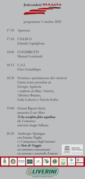 locandina serata scaled 3 OTTOBRE: CERIMONIA DEL PREMIO NAZIONALE FESTIVAL DELL'ERRANZA DEDICATO ALLA TRANSUMANZA, PATRIMONIO DELL'UMANITÀ