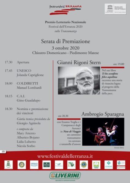 manife serata scaled 3 OTTOBRE: CERIMONIA DEL PREMIO NAZIONALE FESTIVAL DELL'ERRANZA DEDICATO ALLA TRANSUMANZA, PATRIMONIO DELL'UMANITÀ