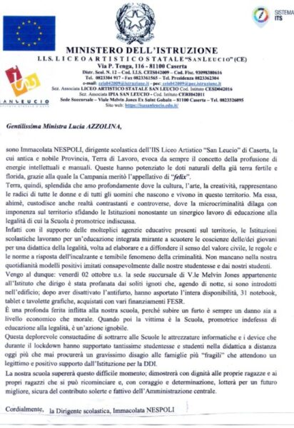 Lettera ministro Azzolina scaled FURTO DI COMPUTER AL LICEO ARTISTICO DI SAN LEUCIO: LA PRESIDE IMMACOLATA NESPOLI SCRIVE ALLA MINISTRA LUCIA AZZOLINA