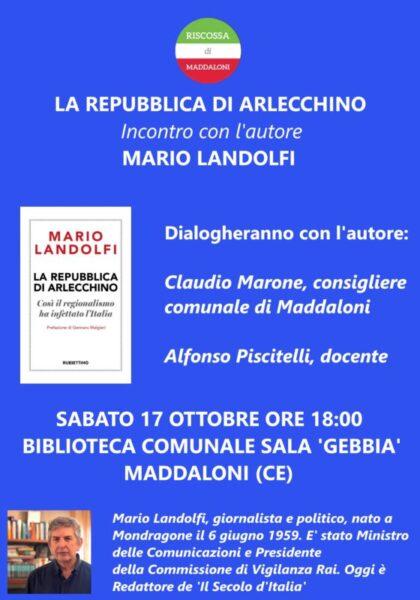 Manifesto landolfi definitivo scaled L'EX MINISTRO LANDOLFI IN CITTÀ PER PRESENTARE IL LIBRO 'LA REPUBBLICA DI ARLECCHINO'