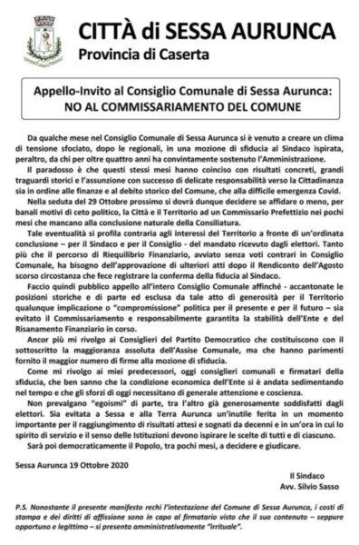 manifesto sasso scaled SILVIO SASSO…VERSO IL 29, LANCIA UN APPELLO. IN VISTA DELLA MOZIONE DI SFIDUCIA, SI TENTA LA CARTA DEL PIETISMO!