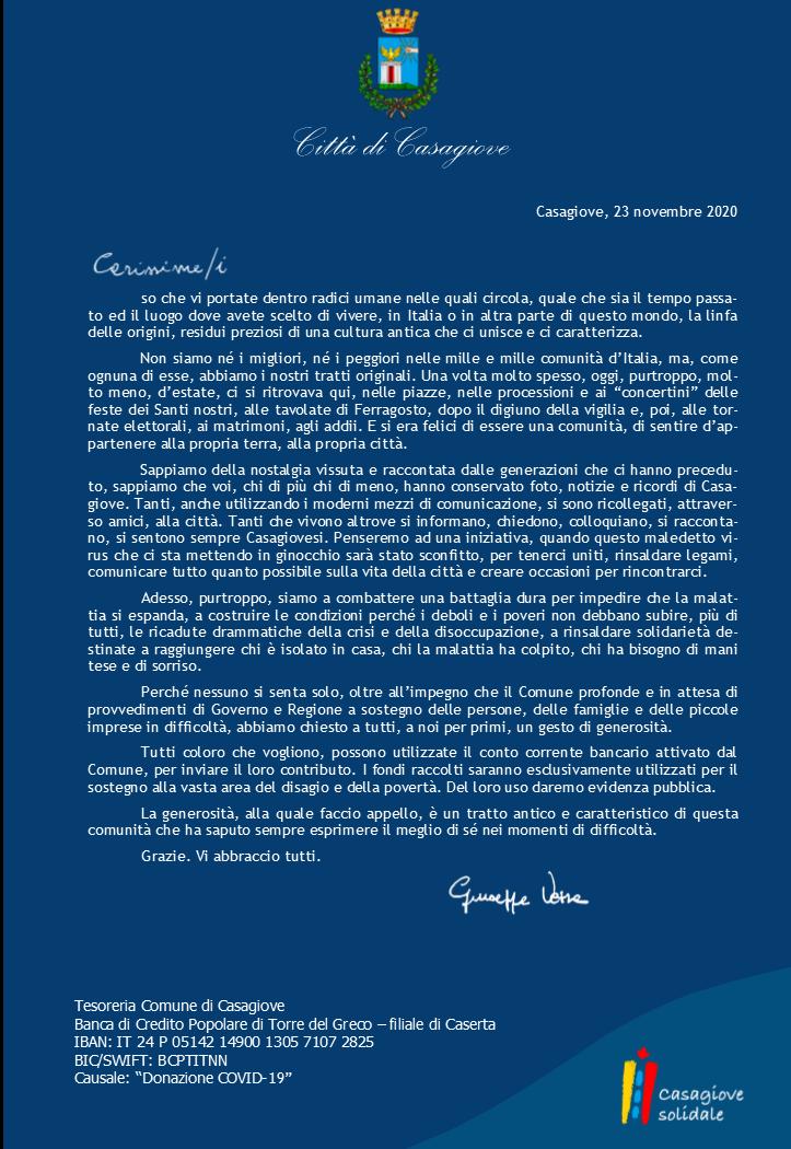 20201123 lettera fuori residenti CASAGIOVE, IL SINDACO SCRIVE AI RESIDENTI IN ITALIA E ALL'ESTERO