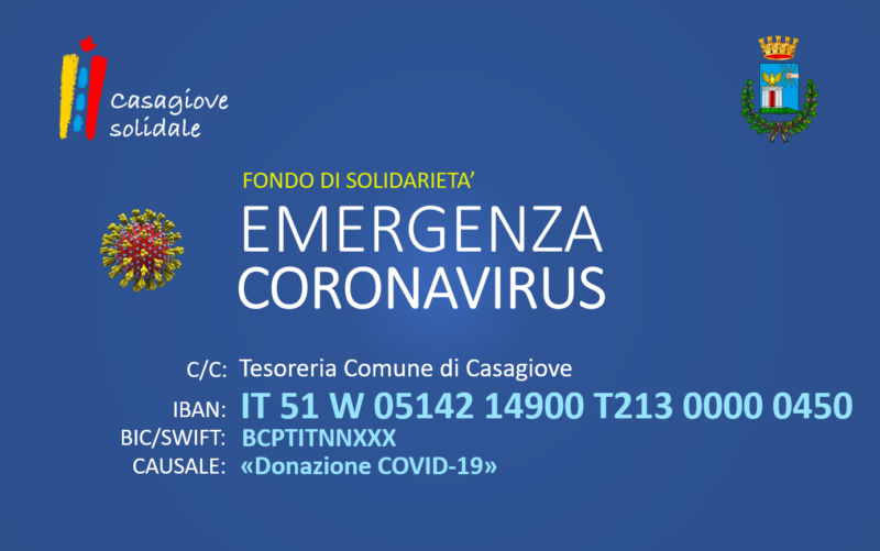 IBAN FONDO SOLIDARIETAapos CASAGIOVE, MISURE EMERGENZIALI COVID 19