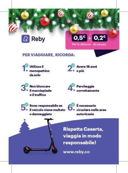 Postal reby Caserta2 3 page 0002 scaled CASERTA, PARTE IL SERVIZIO DI MOBILITA CONDIVISA REBY: 120 MONOPATTINI ELETTRICI IN CITTA