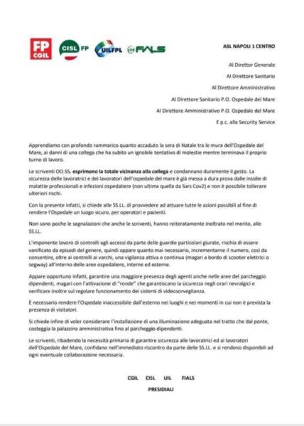 sindacati scaled TENTATA VIOLENZA SESSUALE ALL'INFERMIERA DELLOSPEDALE DEL MARE: LA REAZIONE DEI SINDACATI