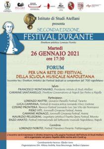 Manifesto Forum 210x300 FESTIVAL DURANTE, INCONTRO SULLA SCUOLA MUSICALE NAPOLETANA IL 26 GENNAIO