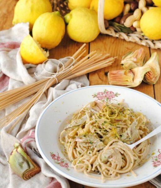 spaghetti carciofi e limone scaled SPAGHETTI CON CARCIOFI E LIMONE