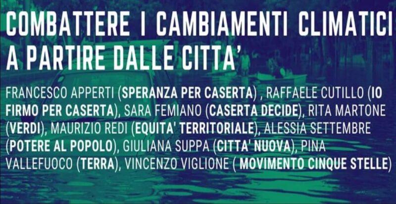 Locandina Evento scaled CASERTA DECIDE PROPONE IL DIBATTITO COMBATTERE IL CAMBIAMENTO CLIMATICO A PARTIRE DALLA CITTÀ
