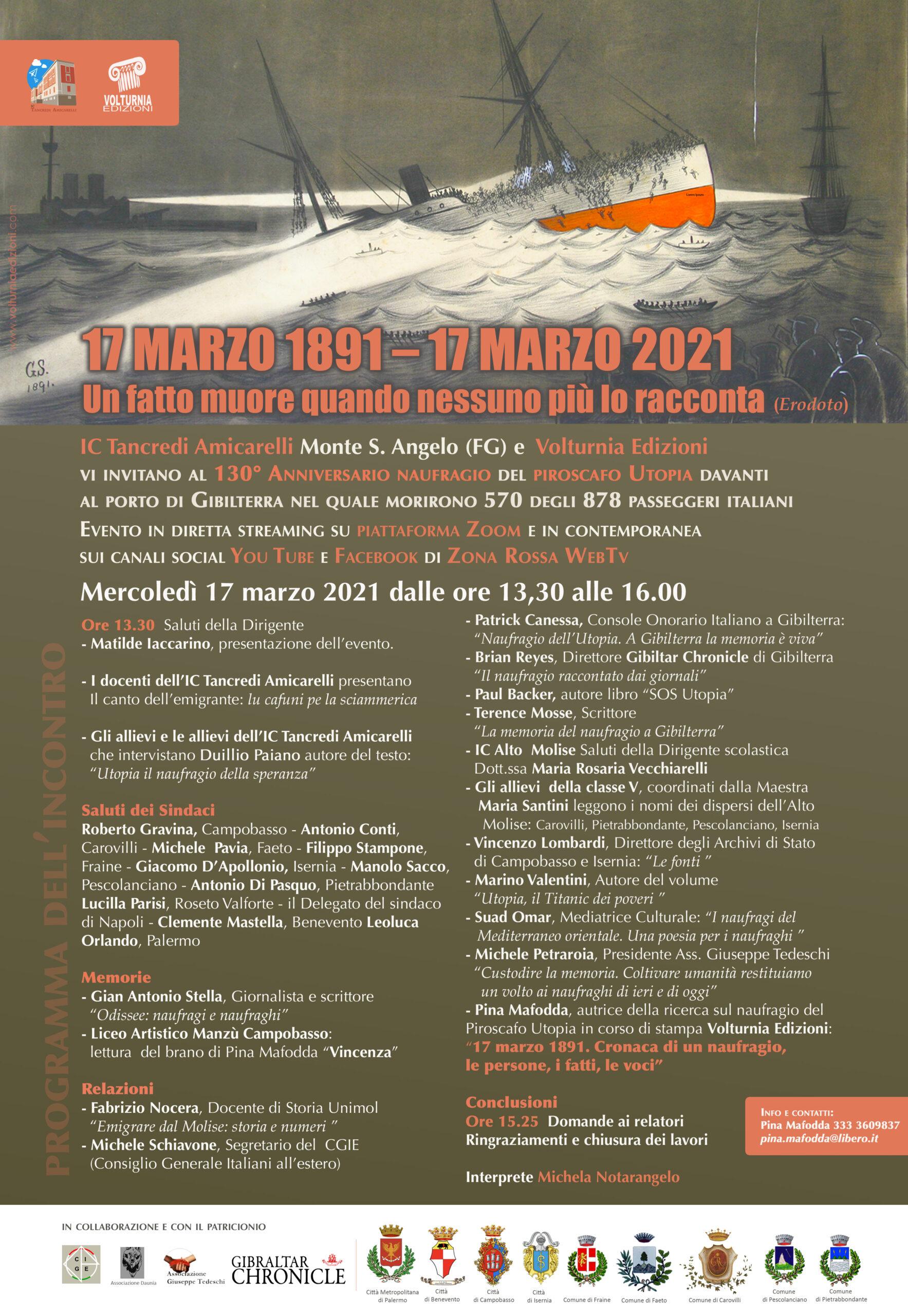 Locandina 130 utopia scaled 17 MARZO 1891/ 17 MARZO 2021: 130° ANNIVERSARIO NAUFRAGIO PIROSCAFO UTOPIA