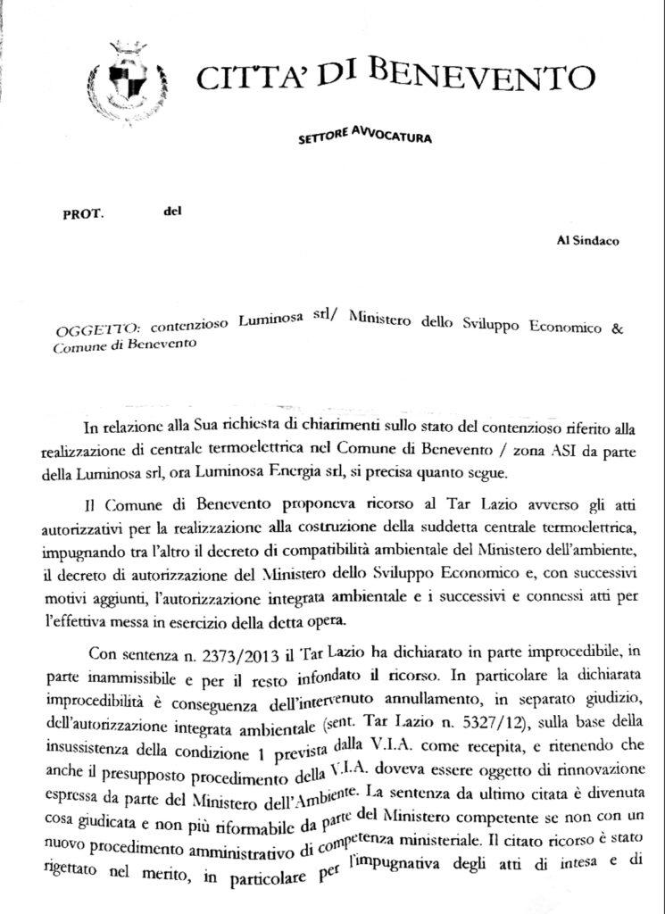 Doc Apr 25 2021 2 745x1024 CONTENZIOSO LUMINOSA, ECCO LA RELAZIONE E MASTELLA: RIBADISCO IL MIO NO