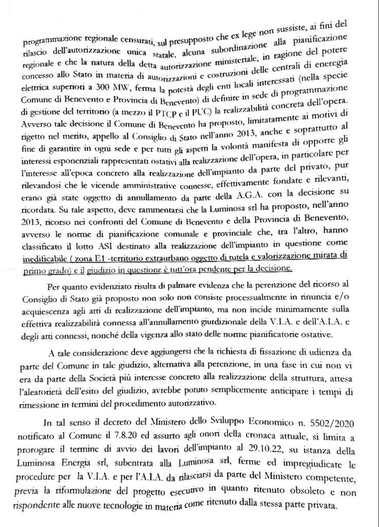 Doc Apr 25 20211 2 738x1024 CONTENZIOSO LUMINOSA, ECCO LA RELAZIONE E MASTELLA: RIBADISCO IL MIO NO