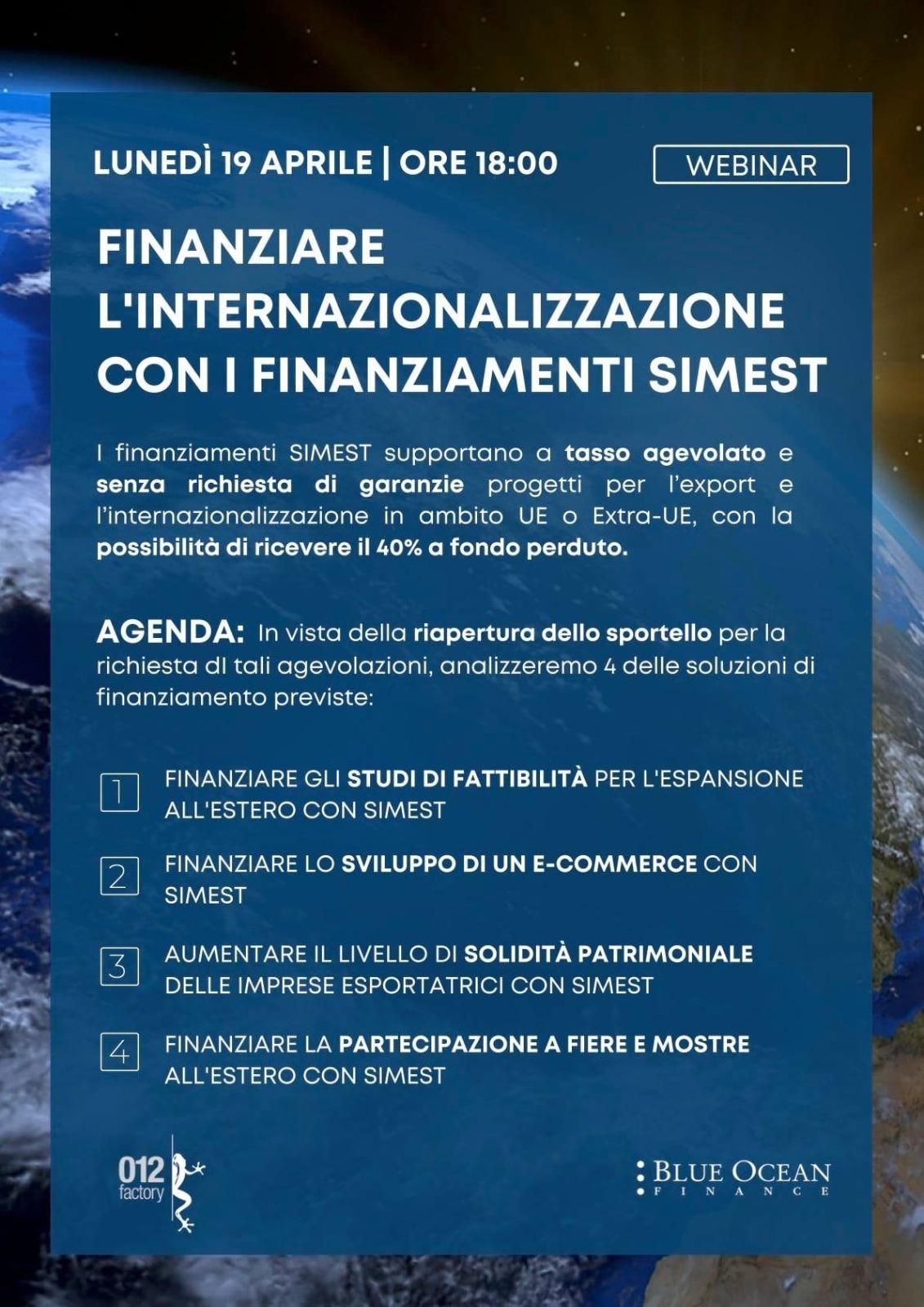 %name 012 FACTORY: FINANZIARE LINTERNAZIONALIZZAZIONE CON I FINANZIAMENTI SIMEST