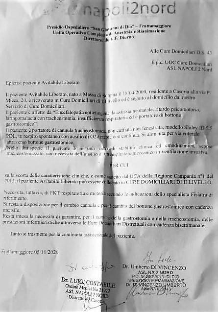 dichiarazione medico NA2 ASL NA2 NORD, QUANDO UN BAMBINO MALATO È SOLTANTO UNA PRATICA…