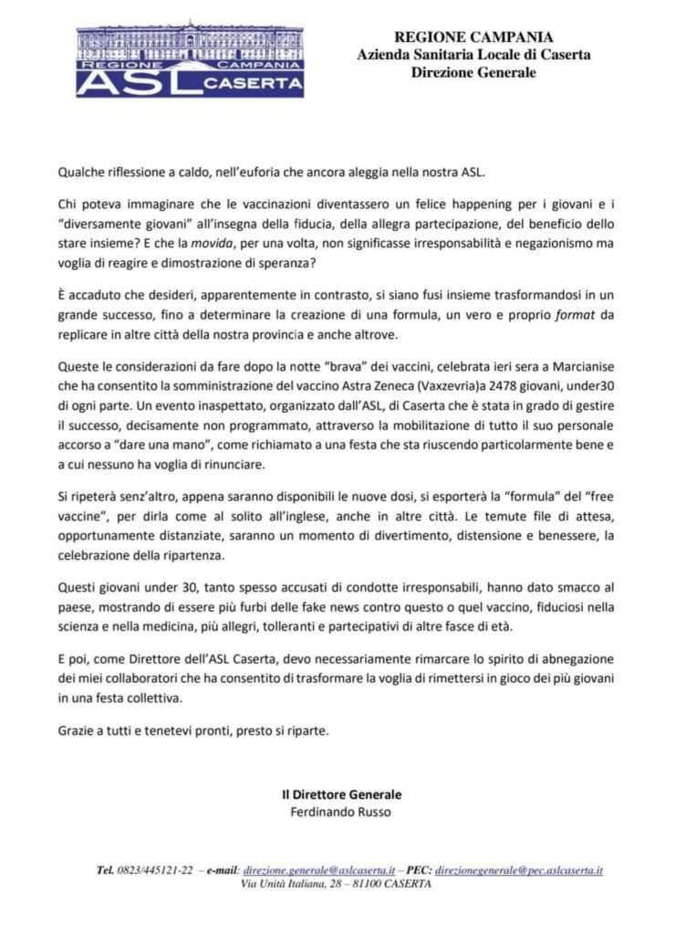 %name ASL, IL DG RUSSO CAMBIA IDEA TRE VOLTE IN 24H E DEFINISCE FELICE HAPPENING LA VACCINAZIONE...
