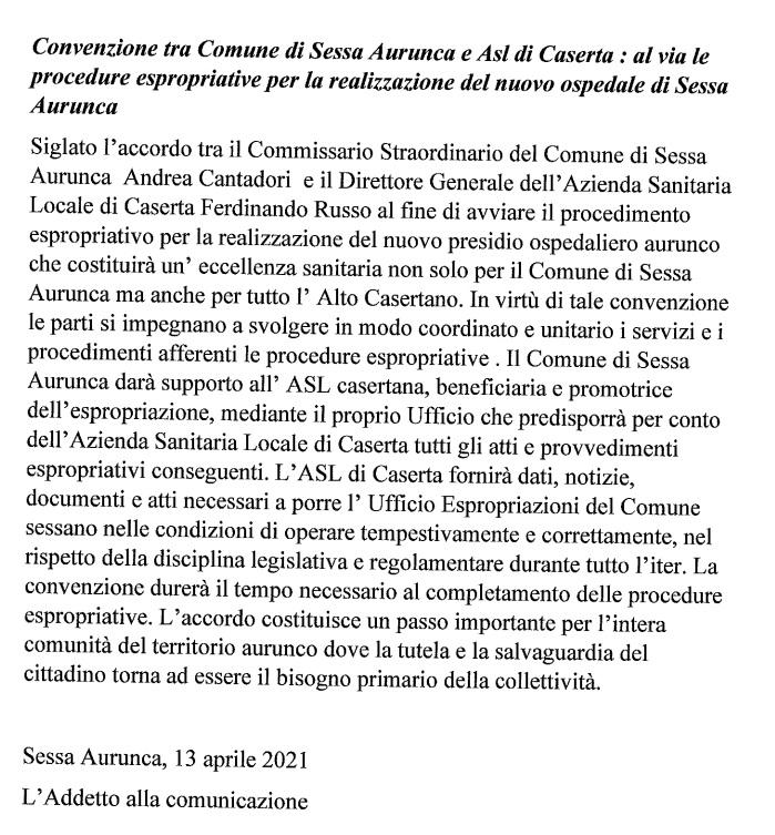 Comunicato Cantadori NUOVO OSPEDALE SESSA AURUNCA, ANNUNCIATO IL CANTIERE DI GIUGNO…SIAMO A PANNI ZERO