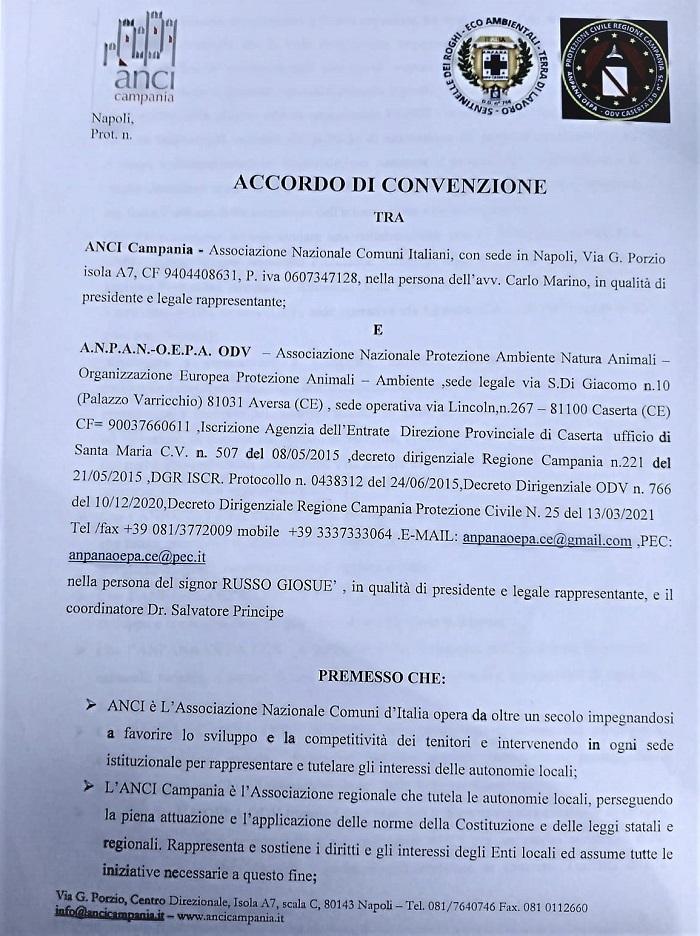 IMG 20210616 WA0075 AMBIENTE, STORICO TRAGUARDO IN CAMPANIA: ACCORDO DI CONVENZIONE TRA A.N.C.I. CAMPANIA, ANPANA, OEPA ODV