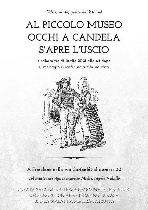 """locandina museo MOLISE, A FROSOLONE APRE LE PORTE IL """"PICCOLO MUSEO OCCHI A CANDELA"""""""