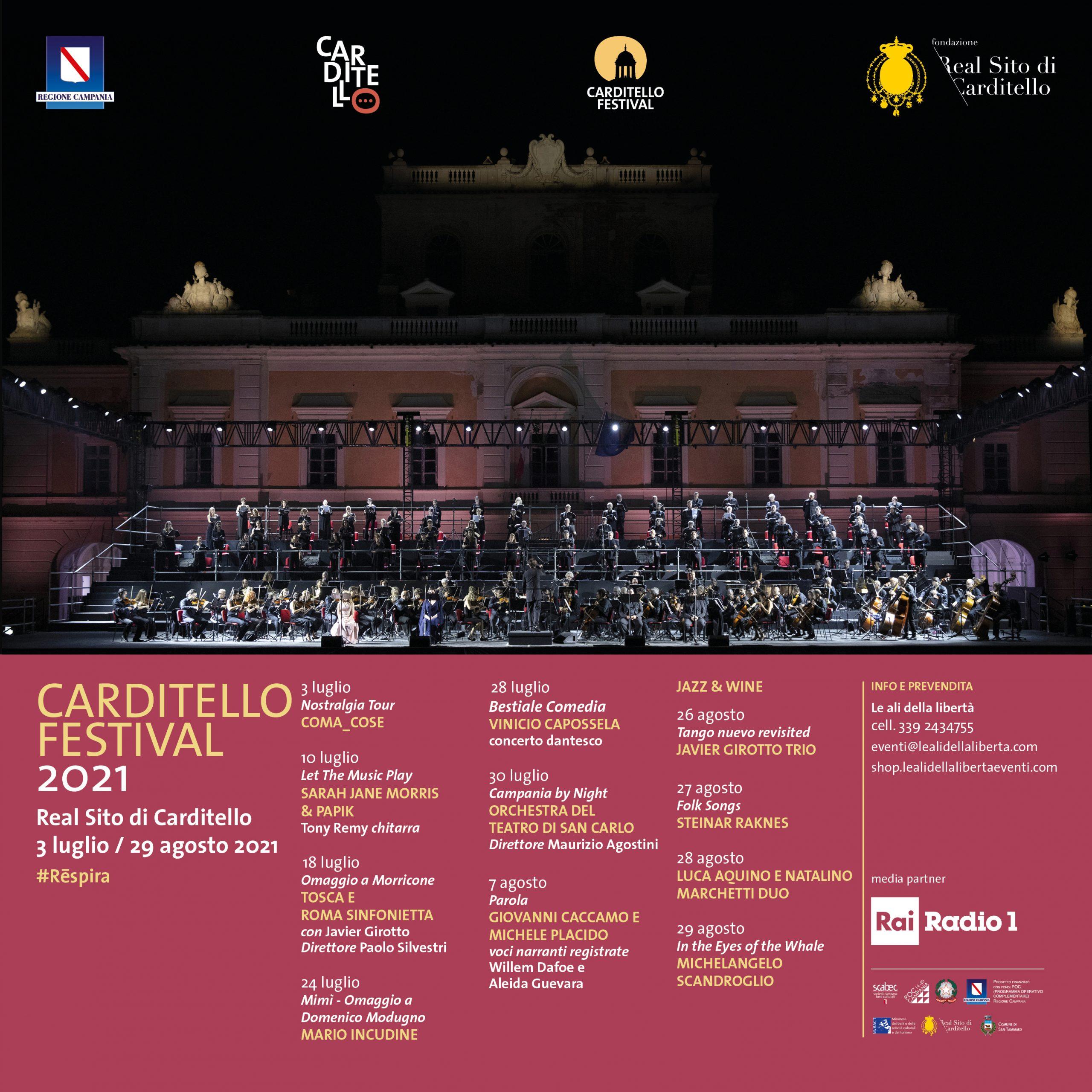 CAR post social festival2021 con scaled CARDITELLO FESTIVAL, LA REGGIA RINASCE CON LA GRANDE MUSICA E VOLI IN MONGOLFIERA