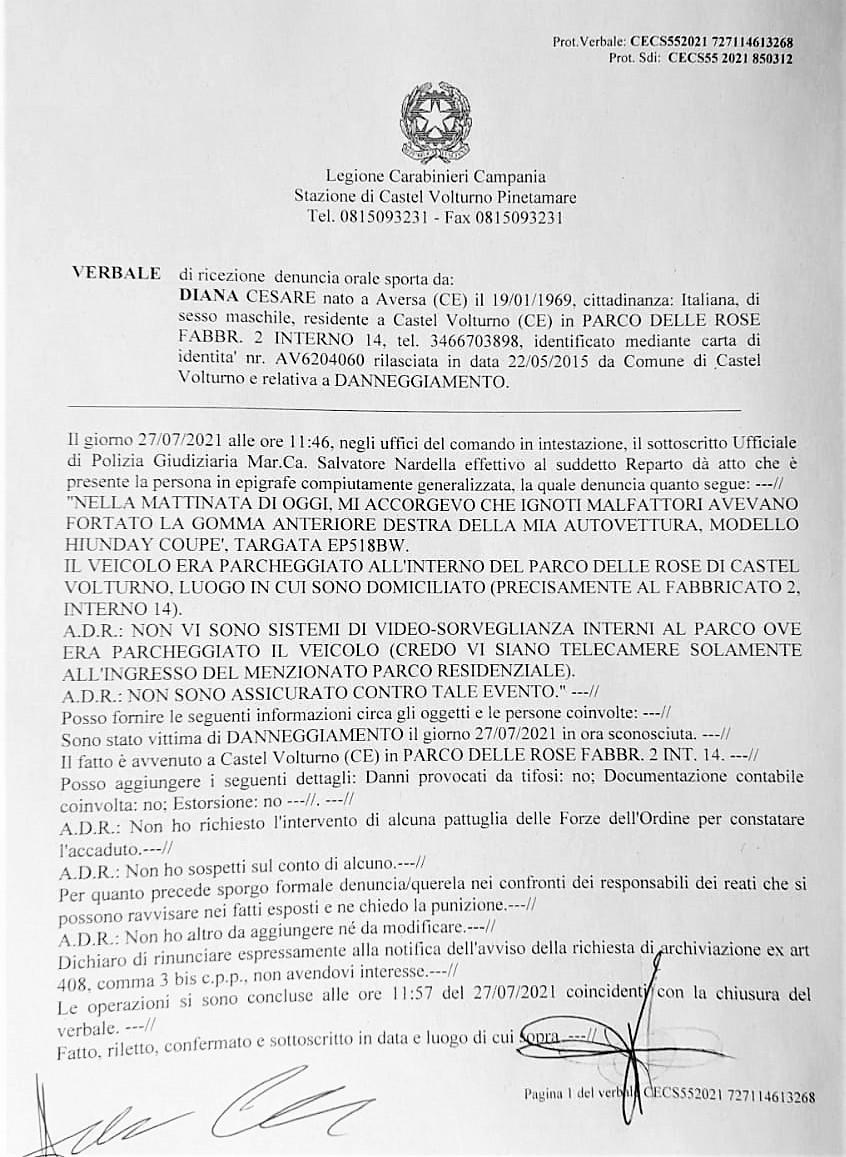 raid auto CASTEL VOLTURNO, DANNEGGIATA LAUTO DEL PRESIDENTE DI CITTÀ DOMITIA