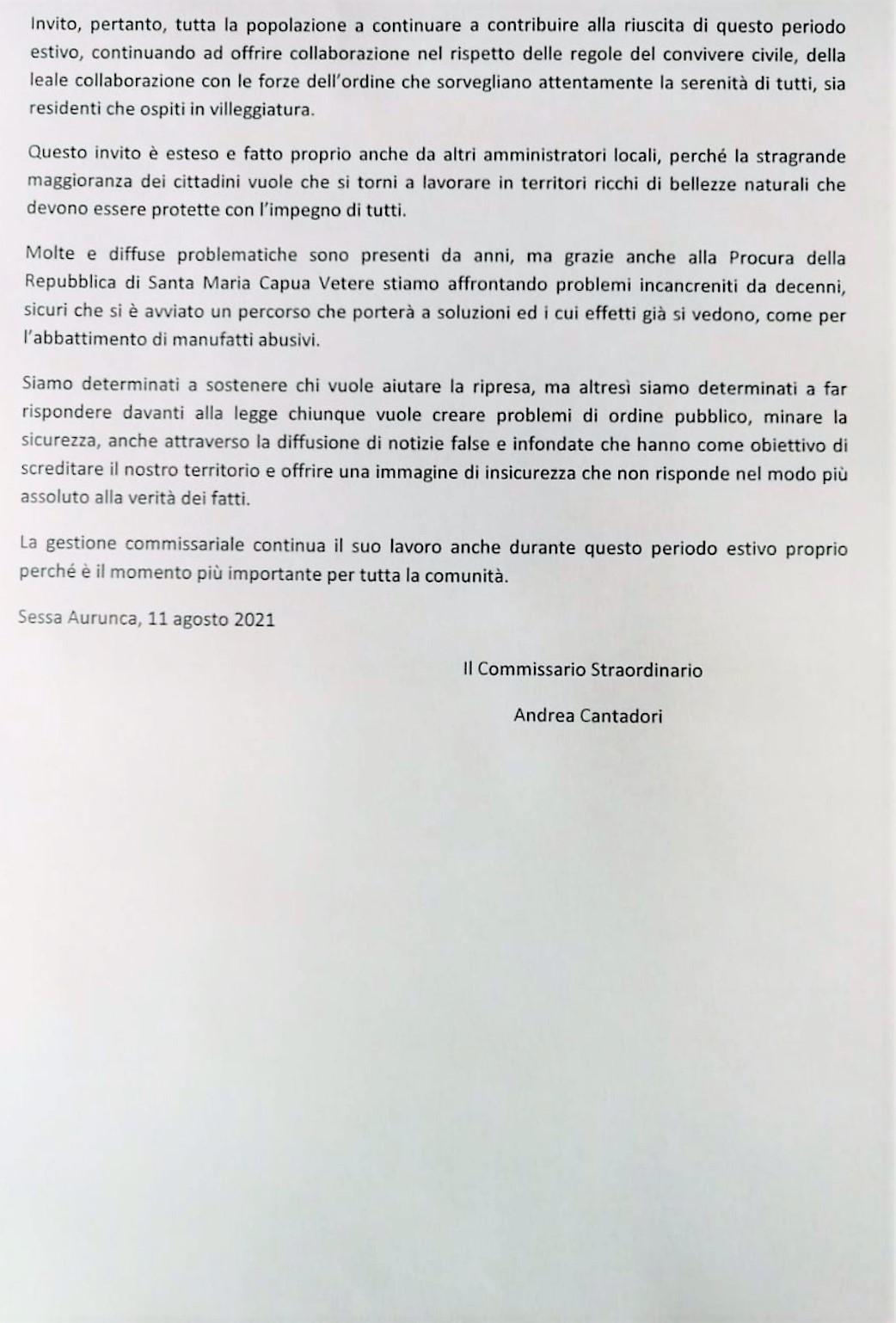 IMG 20210811 145103 BAIA DOMIZIA, STAGIONE BALNEARE: LE PRECISAZIONI DEL COMMISSARIO CANTADORI