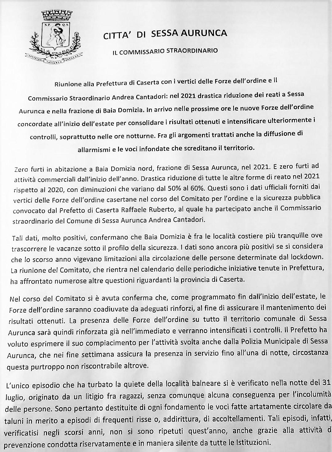 IMG 20210812 180445 SI RIUNISCE IL COMITATO ORDINE E SICURIZZA: RIDUZIONE DEI REATI A SESSA E BAIA