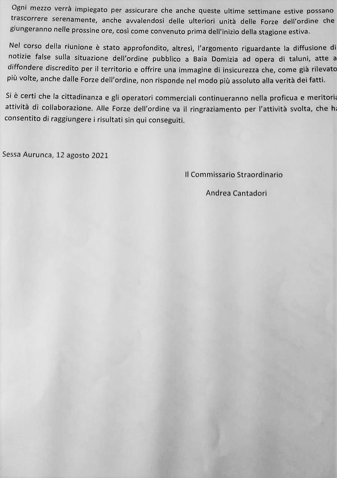 IMG 20210812 180504 SI RIUNISCE IL COMITATO ORDINE E SICURIZZA: RIDUZIONE DEI REATI A SESSA E BAIA