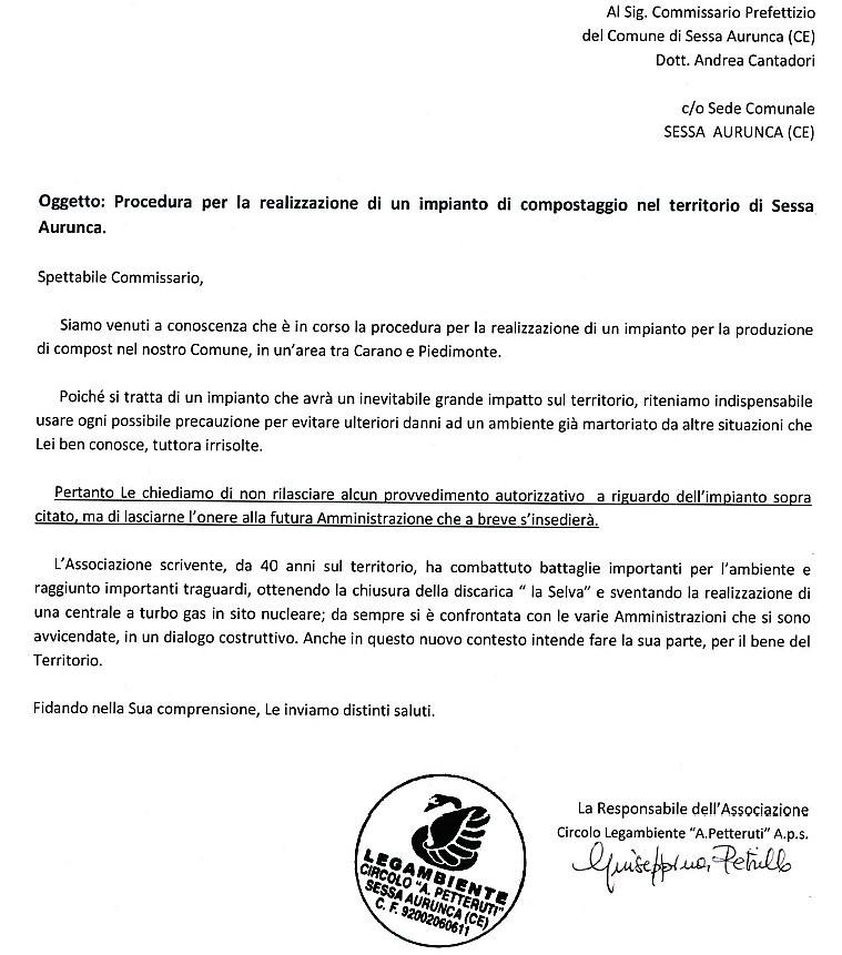 Immagine 7 IMPIANTO DI COMPOSTAGGIO A SESSA AURUNCA, LEGAMBIENTE SCRIVE AL COMMISSARIO CANTADORI