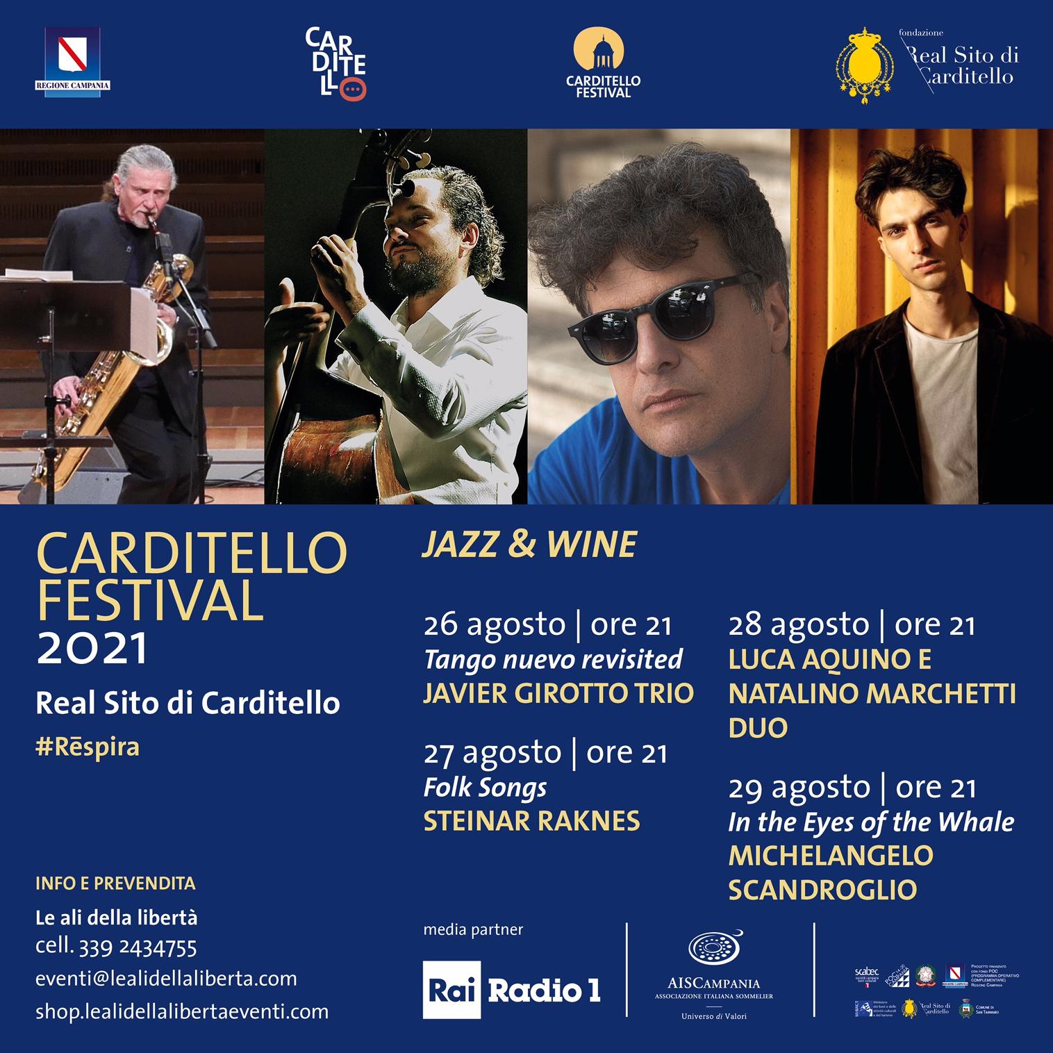 %name CARDITELLO FESTIVAL,JAZZ & WINE TRA VOLI IN MONGOLFIERA, LETTERATURA E MUSICA