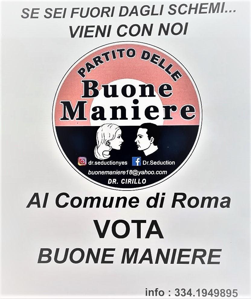 buone maniere Roma GIUSEPPE CIRILLO SINDACO DI ROMA CON IL PARTITO DELLE BUONE MANIERE