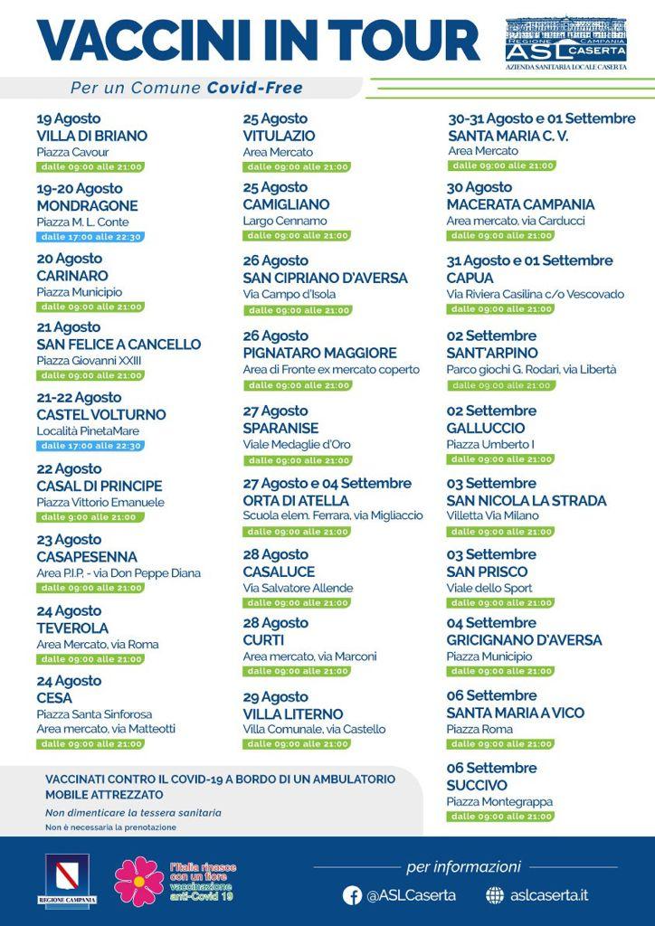 locandina tour vaccini SAN NICOLA LA STRADA, TIR PER VACCINAZIONI LIBERE AI CITTANINI CHE NE FARANNO RICHIESTA