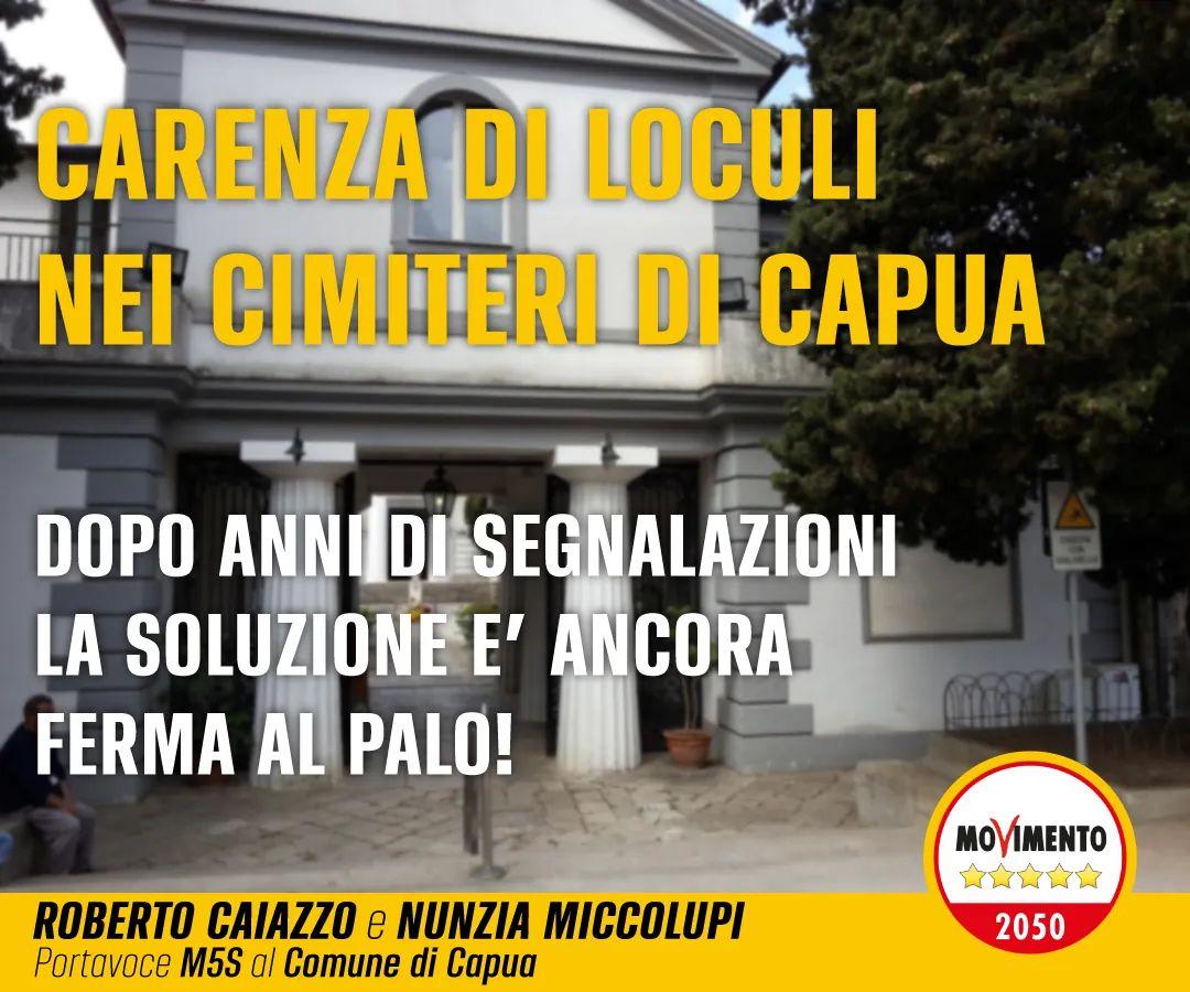 FB IMG 1631617950689 CAPUA, CARENZA DI LOCULI: LA DENUNCIA DEL M5S