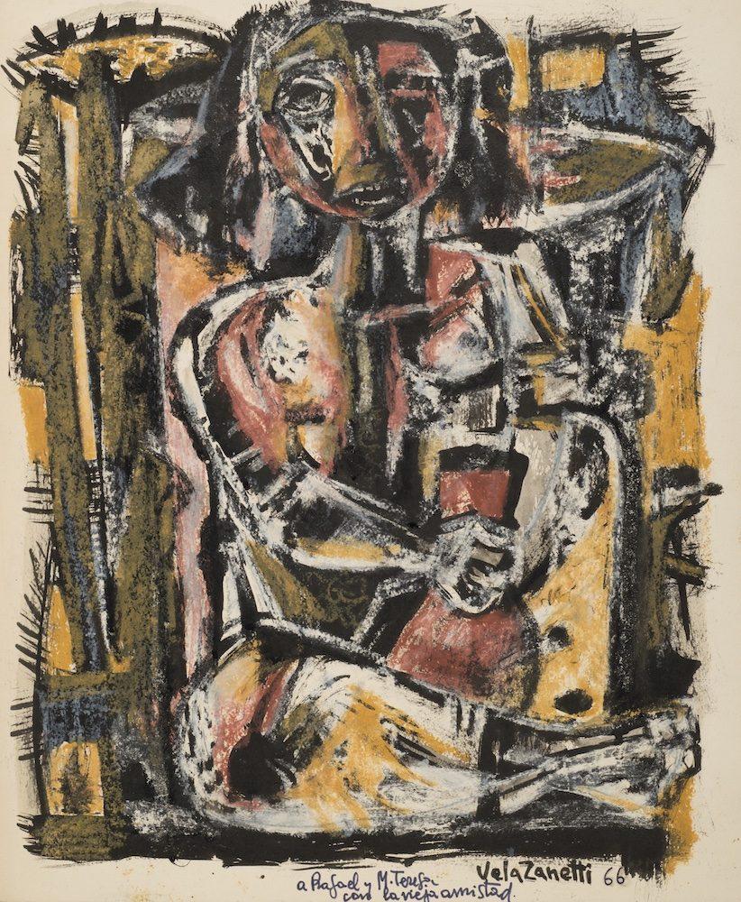 Josè Vela Zanetti Pittura su carbone 515x40cm rotated ROMA, PER LA PRIMA VOLTA IN ITALIA EXILIARTE  MEMORIA DI UNA CARTELLA DEDICATA A RAFAEL ALBERTI