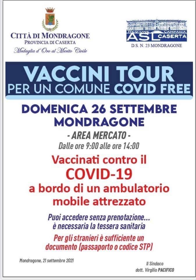 manifesto vaccini mondragone 26 settembre MONDRAGONE, CAMPAGNA VACCINALE: DOMENICA NUOVO APPUNTAMENTO PRESSO LAREA MERCATO