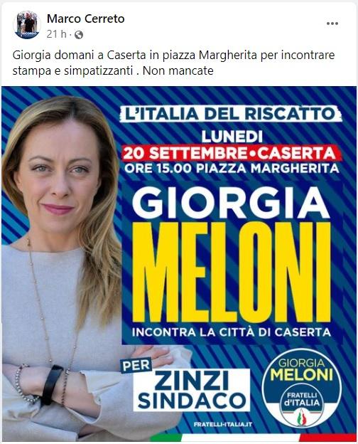post cerreto GIORGIA MELONI NEL CENTRO STORICO…ESILII & PRIVILEGI