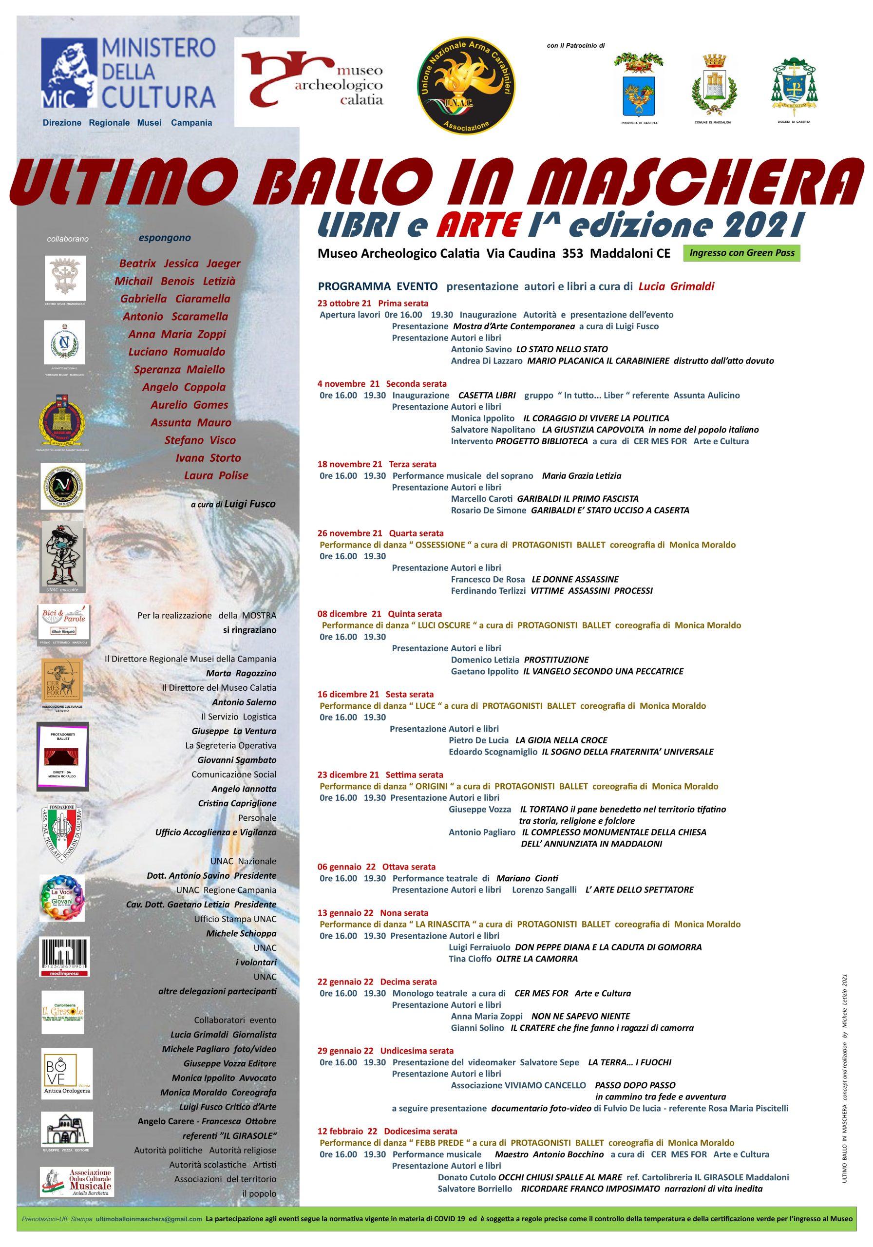 Locandina Ultimo Ballo in Maschera scaled ULTIMO BALLO IN MASCHERA: LIBRI E ARTE AL MUSEO ARCHEOLOGICO CALATIA